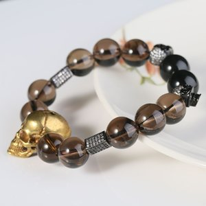 Brass Skulls Bracelets Smoky Quartz Citrine Gothic Men Fashion Crystal Beads