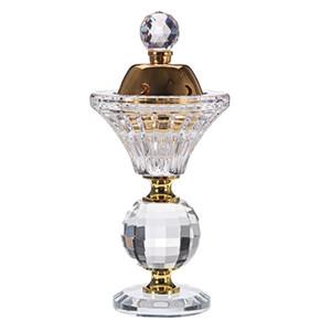 Portable 5.9in Mini Burn Burneur Encens Brûleurs en métal Diamants Floraux Arabian Style Artificial Crystal Encens Burneur Décor