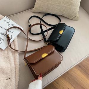 Women leather mini Purse lady shoulder bags plain flap crossbody bag Vintage female cosmetic bags coin bag