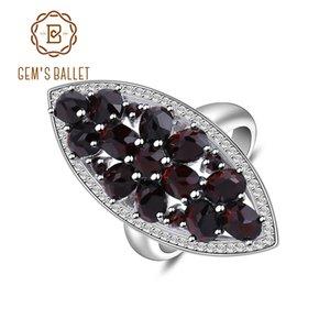Gem's Ballet 925 Sterling Silver Wedding Band Ring Fine Jewelry 5.71Ct Natural Black Garnet Gemstone Engagment Ring For Women Z1121