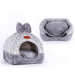 Cat Bed Foldable Pet Cat Bed Mat Soft Shape Dog Kennel Winter Pet Cave House Warm Sleeping Cats Nest Washable Beds