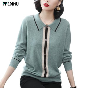 plus size M-4XL spring Autumn Turn-down Neck Knitted Pullovers Women loose basic Sweater Solid Color Jumpers female sweater top 201124