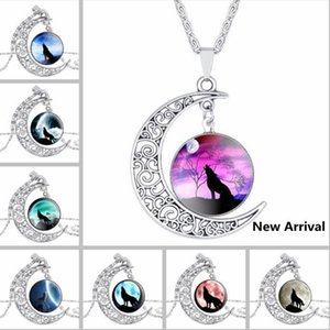 DHL Moon Time Gemstone Silver Collier Wolf Totem Totem Retro Alliage Creux Collier Pendentif Collier Retro Alliage Bijoux Chaîne Vente chaude