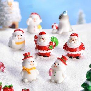 Décoratif Santa Snowman Bear Poupées Ornements pour arbre de Noël Mini-Craft Cadeaux Miniatures pour Terrarium Fairy Jardin Décoration HWA2704