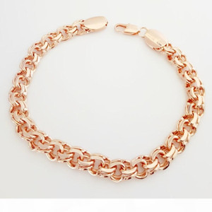 585 Russian Rose Gold Color Bismark Bracelet Men Jewelry Fashion A Form of Weaving Long 230 MM Hand Homme Bracelets & Bangles Y200810