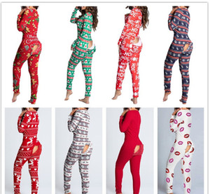Женщины комбинезон тонкий сексуальный дизайнер кнопка флип взрослый пижама рождественские узор напечатаны с длинным рукавом дамы новая мода осень зима