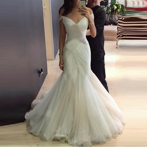 Sexy Wedding Dresses with Short Sleeve Trumpet Mermaid Sweep Brush Train Bridal Gown Zipper Up Back Off Shoulder Pleats vestido blanco