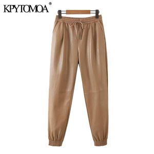 KPYTOMOA Femmes 2020 Mode avec Cordon Cuir Pantalon en Cuir Vintage High Elastic Taille Poches Femelle Ankle Pantalons Mujer