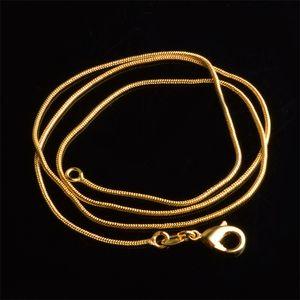 1 mm 18k Cadenas de serpientes chapadas en oro de 16-30 pulgadas Collar de cierre de langosta liso liso para mujer para mujer Joyería de moda a granel 287 G2