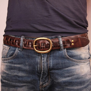 New Belt Man Fashion Mens belts luxury genuine leather braided Real Cow skin straps men Jeans Wide girdle Male men gift