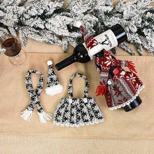 Weihnachten Champagner Flasche Abdeckung Schürze Set Design Festival Weihnachten Rotwein Flasche Abdeckung Tisch Wein Flasche Dress Up Requisiten CCD3150