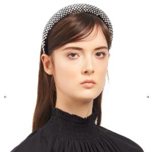 prada Adornado satén diadema mujeres moda diademas con cuentas diseñadores diadema clips de pelo accesorios para el cabello DIEADORES DE RHINESTONE 20112002L