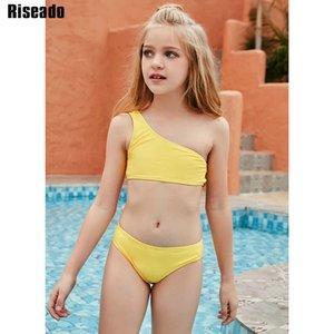 Riseado One épaule Sexy Bikini Ensemble de maillot de bain jaune Enfants Maillots de maillots de maillots de maillots de maillots de maillot de bain 2021 Été Beachwear Brésilien Bikinis J1208