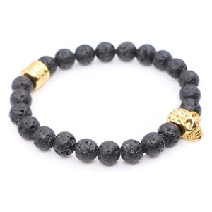 Nature Lava Stone Beads with Stainless steel Skull Charms skull Bracelets Man Women Best Friends Gift pulseira Yoga Jewelry