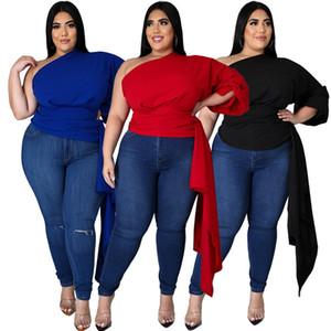 Artı Boyutu Bayan T Shirt Katı Renk Eğimli Omuz Puf Kol Asimetrik Üst Moda Seksi Backless Kadın Giyim