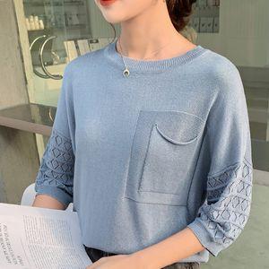 2020 Nueva llegada Aslaa Rovie Regular O-cuello Batwing Manga Bolsillos Oficina Lady Media Patchwork Ninguno China (Mainland) Edad delgada 18 Y1207