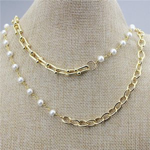 18inch 10pcs lot New design freshwater pearl necklace,mash up style handmade jewelry,popular plated chain necklace wholesale