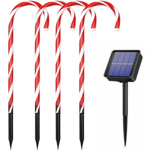Solar Christmas Path-Light Christmas Candy Cane Pathway Xmas Decoration For Home Garden New Year Holiday Garden Yard Lawn Lights Y1125