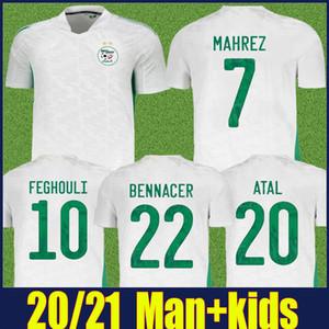2020 2021 Cezayir Jersey Ulusal Takım Üniformaları Adam Çocuk Seti ATAL Mahrez Futbol Forması Benrahma Bennacer Jersey Maillot de Clerien 20/21