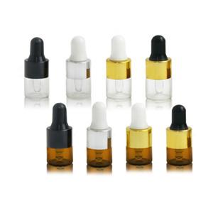 1ml vide clair / bouteille de goutte-gouttes de verre d'ambre d'aromathérapie d'aromathérapie d'aromathérapie d'aromathérapie avec goutte d'oeil de verre