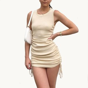 Women Autumn Dress Solid O Neck Sleeveless Summer Dress Brand Cotton Package Hips Sexy Nightclub Party Vestidos Slim Pencil Robe