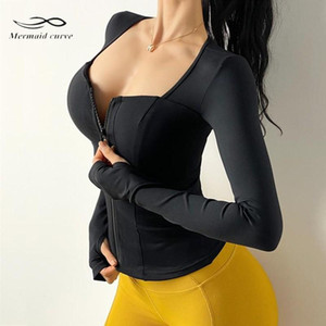 Mermaid Curve Sexy Women Low-Cut Long Sleeve Zipper Yoga Shirts Removable Chest Pad Tight Sports Gym Quick-Drying Running Top