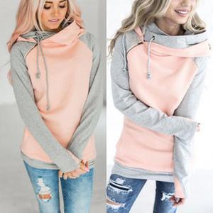 Elégante 2020 Automne Hooeded T-Shirt Femme Patchwork manches longues Pull Streetwear poche mélange de coton Sweats à capuche S M L XL