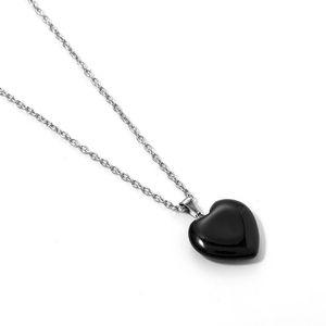 Heart Shape Stone Rock Natural Quartz Healing Point Chakra Pendant Necklace Women Jewelry Heart Shape jllpwD