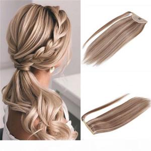 Aspectos destacados envolver alrededor del cabello Ponytail Virgin Human Hair Extensions Mix Color Blonde Clip en Ponytail Remy Piezas de pelo brasileño 100 g