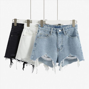 2020 fashion Women Ripped Denim Shorts Summer Casual High Waist Hot korean Jean Shorts Sexy Loose Wide Leg