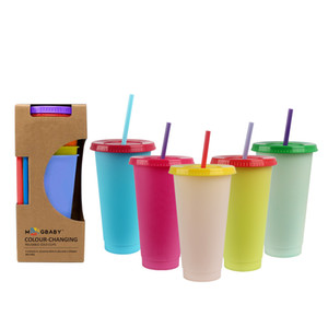 24oz Plastic Color Changing Cup temperature sensing Magic Drinking tumbler with lid and straw Reusable cold drinks cup magic Coffee mug