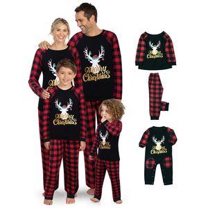 Merry Christmas Letter Print Plaid Splice Matching Pajamas Sets for Family Matching Family Christmas Reindeer Plaid Pajamas