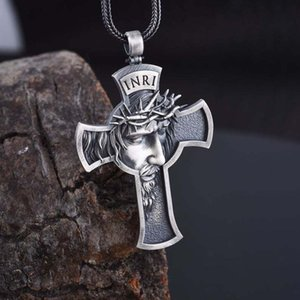 New Hot Sale Necklace for Men Jesus Cross Pendant Necklace Gold Silver Color Cross Link Chain Fashion Jewelry O4P119