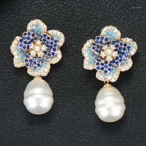 Stud Godki 2021 Blume Charms Frauen Ohrringe Trendy Cubic Zirkon Nachahmung Pearl Ohrring für Accessoires1