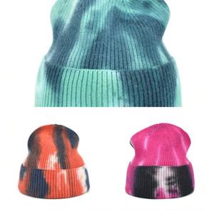 X4qek automne et hiver nouveau cravate colorant imprimé hip hop hip hop melon short chicé chapeau chapeau de laine chapeau de chapeau de peau