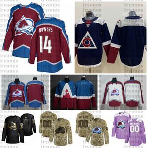 2021 Customize #14 Shane Bowers Colorado Avalanche Jerseys Golden Edition Camo Veterans Day Fights Cancer Custom Stitched Hockey Jerseys