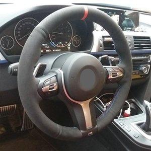 Рулевое колесо охватывает черное замшевую кожую крышку автомобиля для F87 M2 F80 M3 F82 M4 M5 F12 F13 M6 F85 X5 M F86 F33 X6 F30 SPORT1