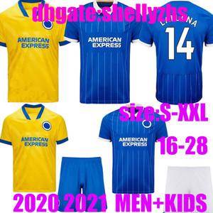 Homens + Kids Hove Albion Maupay 2020 2021 Jerseys de futebol Lallana Dunk Hove Albion Connolly Trosse de Futebol Futebol Camisas
