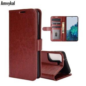 Cartera de cuero de lujo Carcasas para teléfono para Samsung Galaxy S21 S30 Funda Soft TPU Flip Cover Crazy Horse Piel Pattern Coque