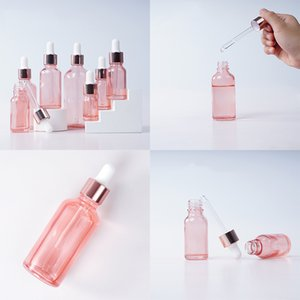 5ml 10ml 15ml 30ml Glass Bamboo Essential Oil Bottle Frosted Amber Rose Gold Glass Dropper Bottle