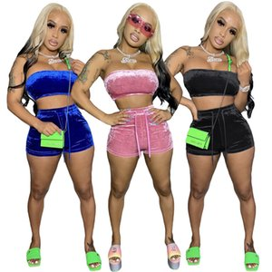 Pleuche Designer Designer Tracksuits Fashion Senza maniche senza spalline Pantaloni corti da donna 2pcs Set Abbigliamento casual a colori solido
