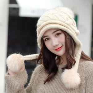 Kagenmo otoño e invierno conejo sombrero sombrero moda todo-fósforo mujeres cabra gorra gruesa esponja larga pelusa bolas protección contra el oído