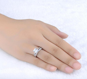 White Gold Plated 0.5ct Brilliant With Pave Band Cubic Zirconia Wedding Ring Set Rigant Ring ps1376