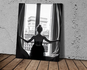 Paris Girl Opens Window Retro Poster Nordic Fashion Canvas Painting Wall Art Pictures Prints and Posters for Living Room Décor
