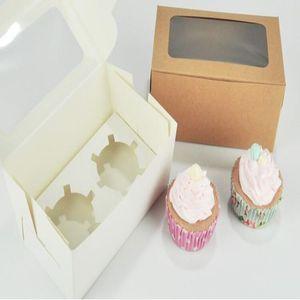 Caja de la magdalena de papel de la tarjeta Kraft 2 taza de pasteles para pasteles Muffin Cake Cajas de postre Paquete de Paquete Paquete Bandeja Regalo Favor de regalo DHC3943