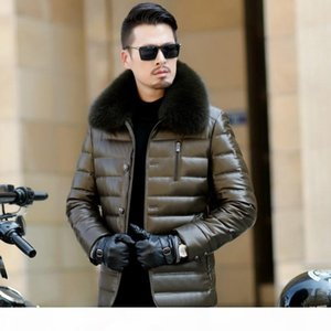 Latest Design 90% Goose Solid Fox Collar Leather Lightweight Duck Down Jacket Outerwears for Cold Winter