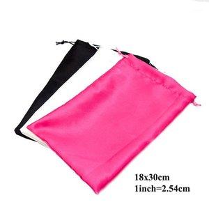Envanter Boş Beyaz veya Siyah veya Sıcak Pembe Hediye Saten Çanta 18x30 cm İpli Polyester Ipek Çanta Bakire Saç Parti Için Favor1