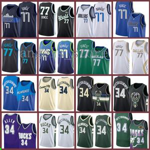 Giannis Luka 77 34 Antetokounmpo Doncic Buck Basketbol Jersey DallasMavericks MilwaukeeBuck 2021 Yeni