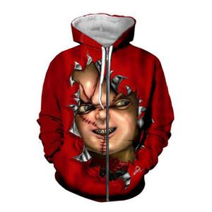 Sehr geehrte Kundendesign DIY Horror Movie Chucky 3D Hoodies Frauen Männer 3D Druck Sublimation Reißverschluss Hoodies