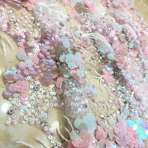 African Lace Fabric 2020 High Quality Lace With Sequins Latest French Tulle Fabric For Party dress TS9156